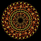 hohloma traditional round red yellow pattern on a black. vector