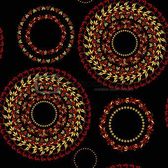 circular pattern Hohloma seamless on a black. vector illustratio