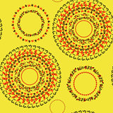 circular pattern Hohloma seamless on yellow. vector illustration
