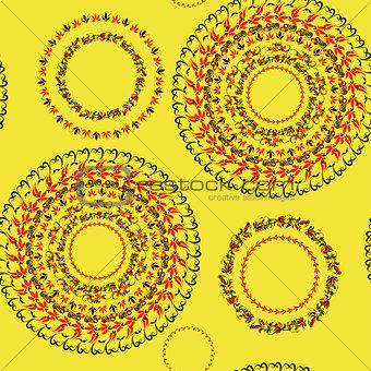 circular pattern Hohloma seamless on yellow. vector illustration
