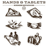 Hands and Tablets. Engraved Vector