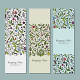 Business cards, floral banners design