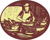 Taco Cook in Food Stall Oval Retro