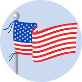 USA Flag Stars and Stripes on Flagpole Circle Cartoon