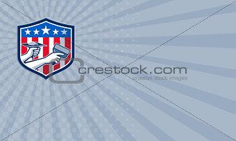 Business card Drywall Repair Service American Flag Shield Retro