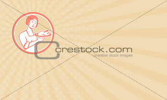Business card Housewife Serving Chicken Roast Circle Retro