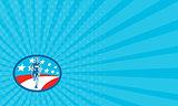 Business card Marathon Runner USA Flag Oval Woodcut