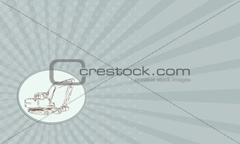 Business card Mechanical Digger Excavator Oval Etching