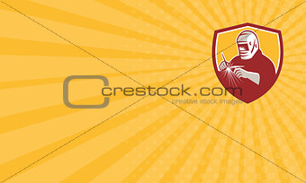 Business card Tig Welder Welding Crest Retro
