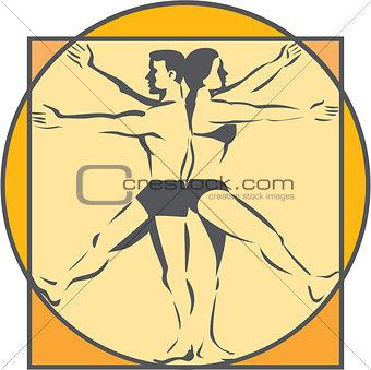 Da Vinci Male Female Side Arms Legs Line Drawing Retro