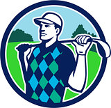 Golfer Golf Club Shoulders Circle Retro