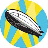 Zeppelin Blimp Flying Overhead Circle Retro