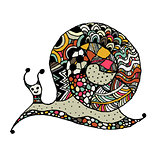 Art snail, ornate zentangle style for your design