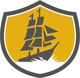 Sailing Galleon Tall Ship Crest Retro