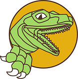 Raptor Head Breaking Out Wall Circle Drawing
