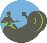 Rower Rowing Machine Circle Retro