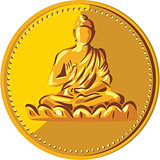 Buddha Gold Coin Medallion Retro