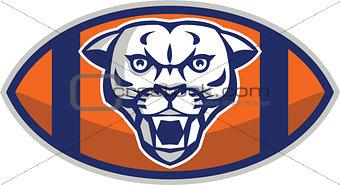 Cougar Mountain Lion Football Ball Retro