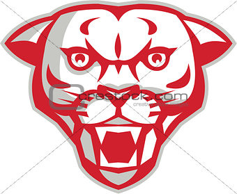 Angry Cougar Mountain Lion Head Retro