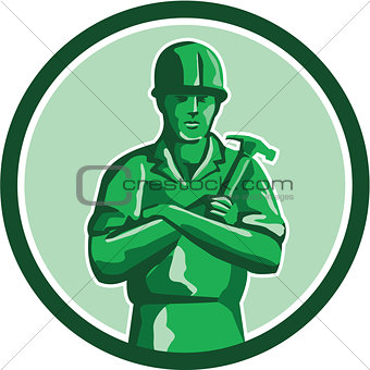 Green Builder Holding Hammer Circle Retro