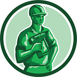 Green Construction Worker Nailgun Circle Retro