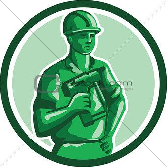 Green Construction Worker Nailgun Circle Retro