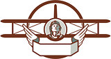 World War 1 Pilot Airman Spad Biplane Circle Retro