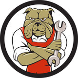Bulldog Mechanic Arms Crossed Spanner Circle Cartoon