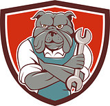 Bulldog Mechanic Arms Crossed Spanner Crest Cartoon