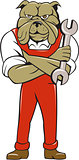 Bulldog Mechanic Arms Crossed Spanner Cartoon