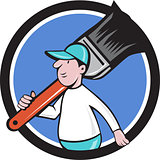 House Painter Paintbrush Walking Circle Cartoon