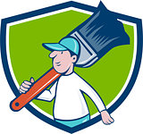 House Painter Paintbrush Walking Shield Cartoon