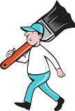 House Painter Paintbrush Walking Cartoon