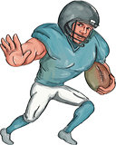 American Football Player Stiff Arm  Caricature