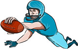 American Football Player Touchdown Drawing