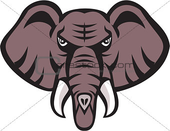 African Elephant Head Angry Tusk Retro