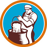 Cheesemaker Pouring Bucket Curd Circle Woodcut