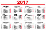 Wall Calendar 2017. First day Monday