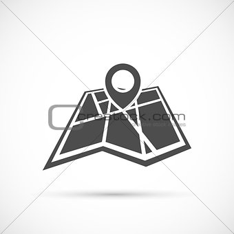 Folded map with point icon