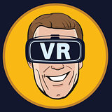 Man with Virtual reality glasses icon