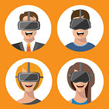 Virtual reality glasses man and woman flat icons