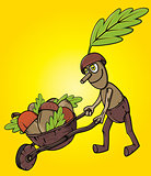cartoon oak tree mascot pushing handcart with accorns autumn leaves season