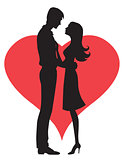 Couple  concept. Silhouette of man and womans heads forming a heart shape