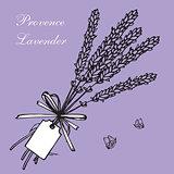 Lavender bouquets and label