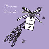 Lavender bouquets and label