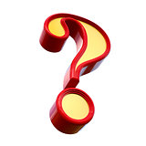 Red question mark. Isolated on white background. 3d rendering.