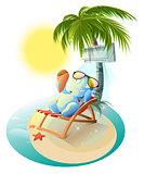 Snowman eating ice cream. Snowman in deck chair under air conditioner. Snowman under palm tree