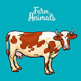 Cow in sketch style, farm animals