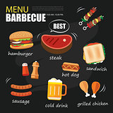 barbecue menu party. BBQ invitation template menu design set