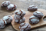 Chocolate cookies on the wooden board